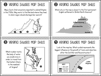 Virginia Studies Map Analysis Task Cards (All Standards)