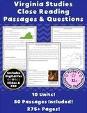 Virginia Studies Passages & Questions Bundle {Digital & PD