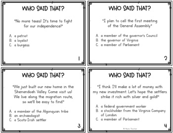 Virginia Studies People Groups SOL Review Task Cards (All Standards)