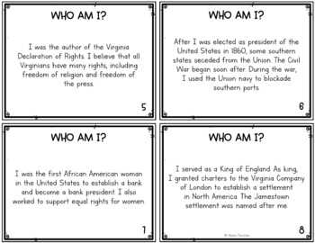 Virginia Studies People SOL Review Task Cards (All Standards)
