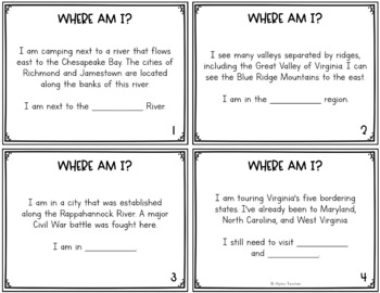 Virginia Studies Places SOL Review Task Cards (All Standards)