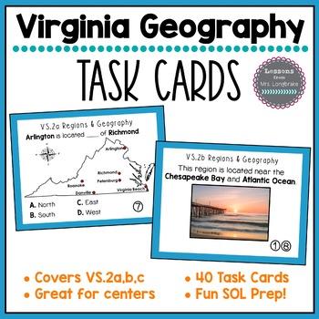 Virginia Studies Regions & Geography Task Cards VS.2a,b,c