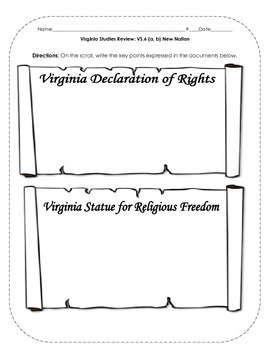 Virginia Studies Review Activities: VS.6 New Nation