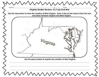 Virginia Studies Review Activities: VS.7 Civil War and American Revolution