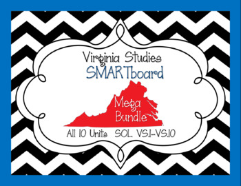 Virginia Studies SMARTboard MEGA Bundle! All 10 Units - SOL VS.1-10