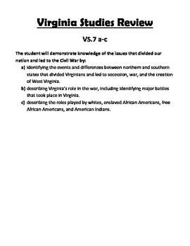 Virginia Studies SOL Review Packet for VS.7