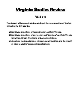 Virginia Studies SOL Review Packet for VS.8