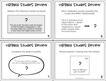 Virginia Studies SOL Review QR Code Task Cards (All Standards)