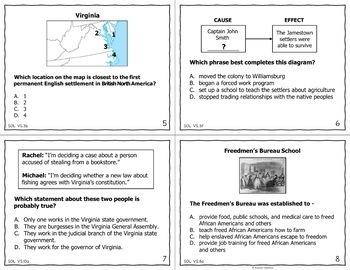 Virginia Studies SOL Review Task Cards (All Standards)