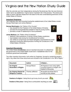 Virginia Studies Study Guides and Review Worksheets Bundle