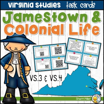 Virginia Studies Task Cards - Jamestown and Colonial Life (VS.3 & VS.4)