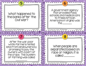 Virginia Studies Task Cards - Reconstruction of Virginia (VS.8)
