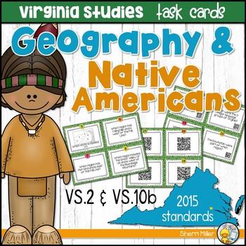 Virginia Studies Task Cards - VA Geography & Native Americans (VS.2 & VS.10b)
