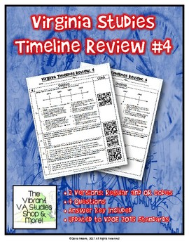 Virginia Studies Timeline Review #4