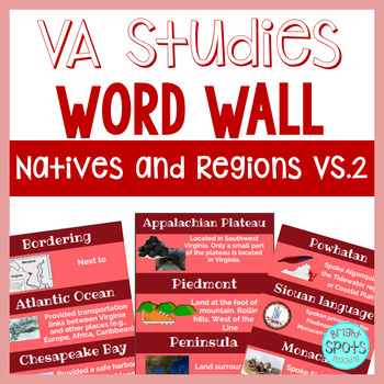 Natives and Regions VS.2 Vocab Word Wall Cards