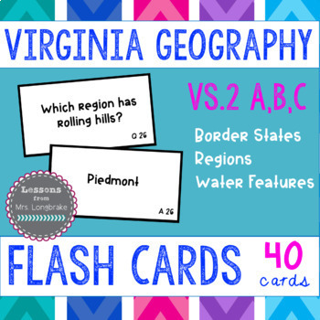 Virginia Studies Regions Flash Cards VS.2a,b,c