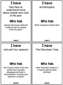 Virginia Studies Virginia Indians Review Game VS.2d,e,f,g