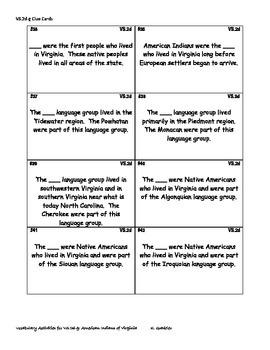 Virginia Studies Vocabulary Activities - American Indians (VS.2d-g)