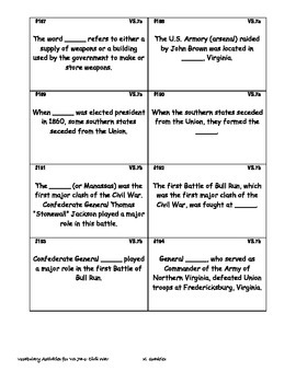 Virginia Studies Vocabulary Activities - Civil War (VS.7a-c)