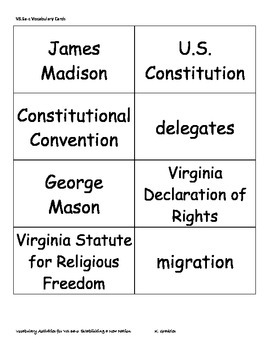 Virginia Studies Vocabulary Activities - Establishing a New Nation (VS.6a-c)