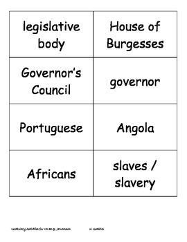 Virginia Studies Vocabulary Activities - Jamestown (VS.3a-g)