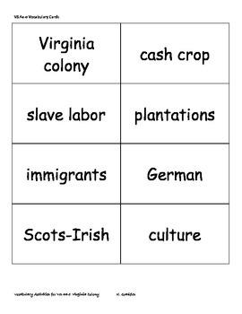 Virginia Studies Vocabulary Activities - Virginia Colony (VS.4a-e)