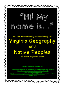 Virginia Studies Vocabulary Activity for Virginia Geography and Native People