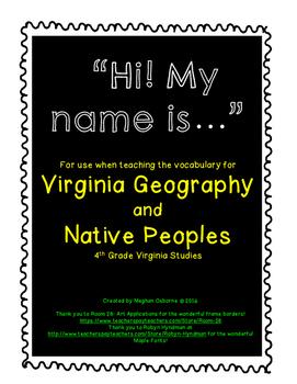 Virginia Studies Vocabulary Activity for Virginia Geograph