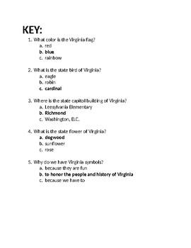 Virginia Symbols Quick Check/Unit Assessment