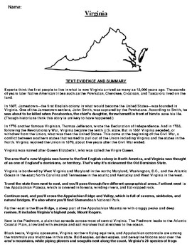 Virginia Text Evidence and Summary Assignment