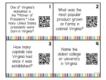 Virginia Trivia Bulletin Board Set/Task Cards