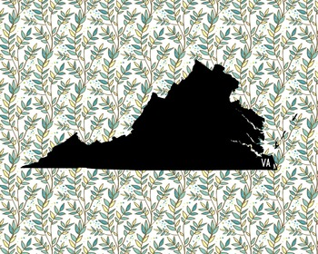 Virginia Vintage State Map or Poster Class Decor, Classroom Decoration