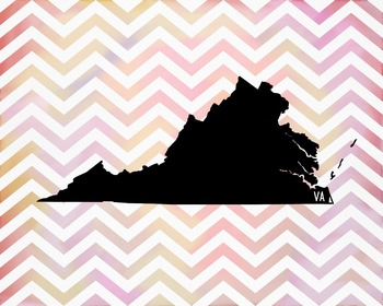 FREEBIE! Virginia Chevron State Map Class Decor, Classroom Decoration