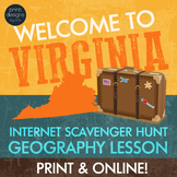 Virginia Webquest Internet Digital Scavenger Hunt - Geography Worksheet