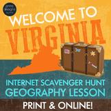 Virginia Webquest Internet Digital Scavenger Hunt - Geography Worksheet