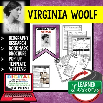 Virginia Wolff Biography Research, Bookmark, Pop-Up, Writing