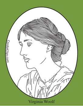Virginia Woolf Clip Art, Coloring Page or Mini Poster