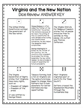 Virginia and the New Nation Dice Review Activity (VS.6)