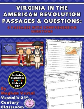 Virginia in American Revolution Passages & Questions {Digital & PDF Included}