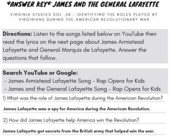 James Armistead & General Lafayette VS.5 Virginia Studies Reading Passage & Song