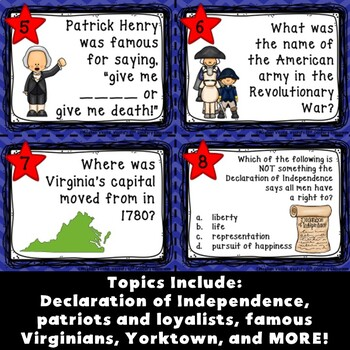 Virginia in the American Revolution Task Cards
