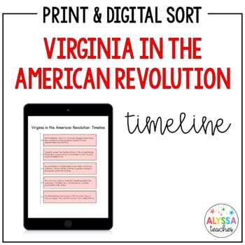 Virginia in the American Revolution Timeline Worksheet (VS.5)