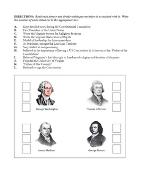 Virginia in the New Nation - Instructional Packet - Worksheets, Quizzes, & More