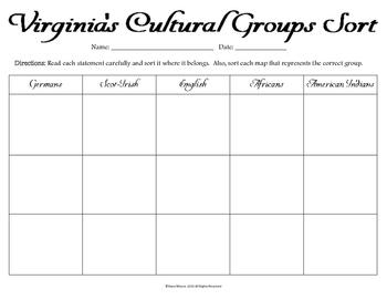 Virginia's Cultural Group Sort (VS.4b)