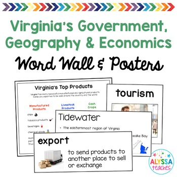 Virginia's Government & Economics Word Wall/Poster Set (VS.10)