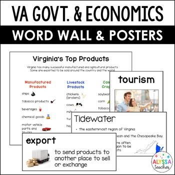 Virginia's Government & Economics Word Wall/Poster Set (VS.10)