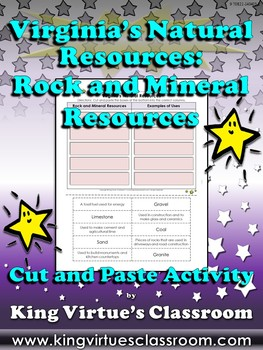 Virginia's Natural Resources: Rock and Mineral Resources Cut and Paste Activity
