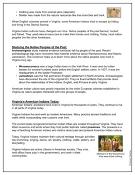 Virginia's American Indians Study Guide and Review Worksheet (VS.2d-g)