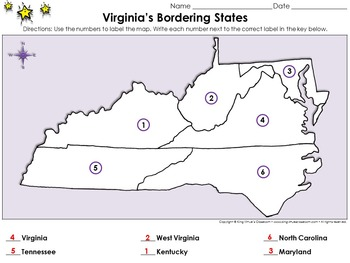 Virginia's Bordering States - Locate Places on a Map #1 - King Virtue