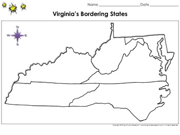 Virginia's Bordering States Map - Blank - Full Page - King